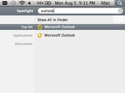 Step 1: Open Microsoft Outlook 2011 for Mac