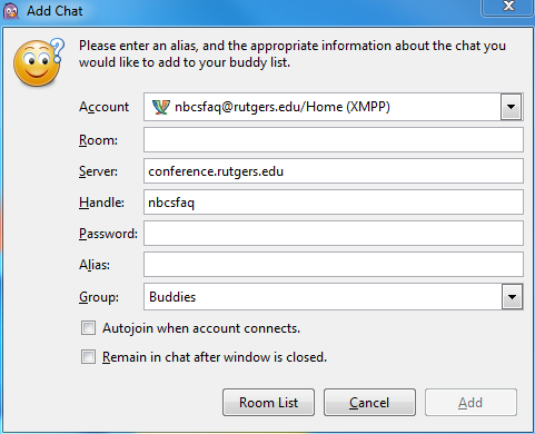 Rutgers Instant Message with Pidgin | OIT - New Brunswick
