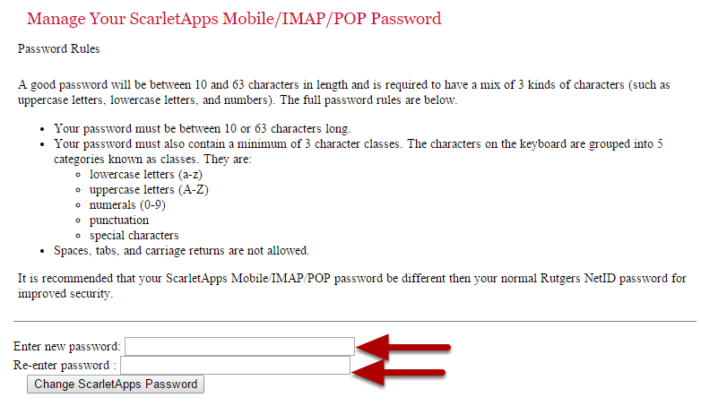Setup a new password rule in accordance with the rules defined as written on the page