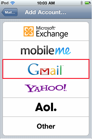 how to add gmail to apple doc