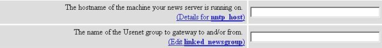 NNTP Host and Linked Newsgroup Options