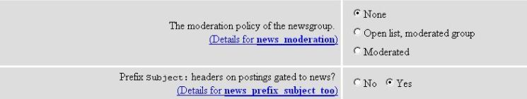 News Moderation and News Prefix Subject Too Options